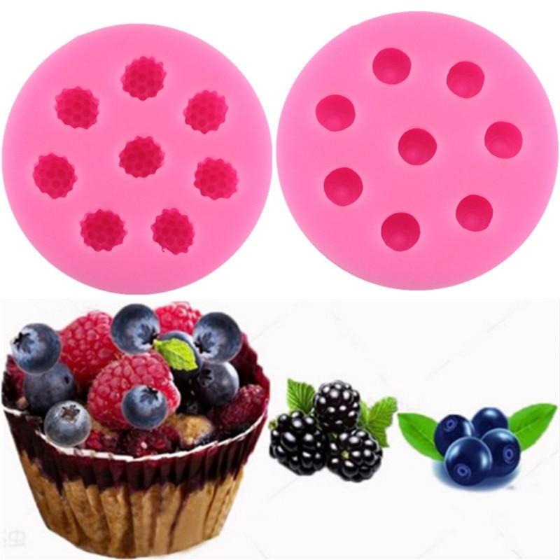 Silicone Cake Mold Raspberry Blueberry Shape Fondant Mold Household Chocolate Mold DIY Kitchen Baking Blueberry Mold