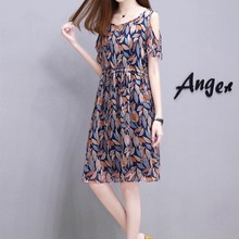 Womens Dress Summer Round Neck A-Line Loose 2019 Casual Floral Printed Cold Women Shoulder Short Sleeve Midi
