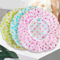 Bonnet de bain élastique épais, imperméable à pois, accessoire de bain pour femmes, Spa, Salon de coiffure, produit de salle de bain