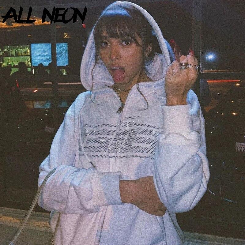 Permalink to ALLNeon Y2K Fashion Rhinestone Zipper Oversized Hoodies E-girl Vintage Solid Letter Long Sleeve Black Sweatshirts Autumn Outfits