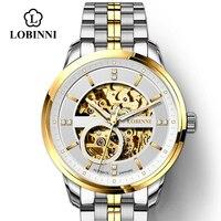 LOBINNI Япония MIYOTA Move Мужские t часы Мужские автоматические механические часы роскошные часы Прозрачный Скелет Мужские часы с Чайкой