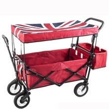 Мини-оксфордская домашняя корзина для покупок, переносная складная тележка-Трейлер с двойным тормозом, багажная тележка для кемпинга