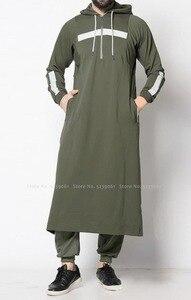 Image 5 - Men Jubba Thobe Arabic Islamic Clothing Muslim Dress Saudi Arabia Long Robe Abaya Dubai Loose Blouse Kaftan Sweater Hoodies Tops