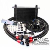 25 Row 248mm AN10 British Oil Cooler Kit w/ Brackets Fits For BMW E36 Euro E82 E9X 135/335 E46 M3 E90 E92 Black/Silver