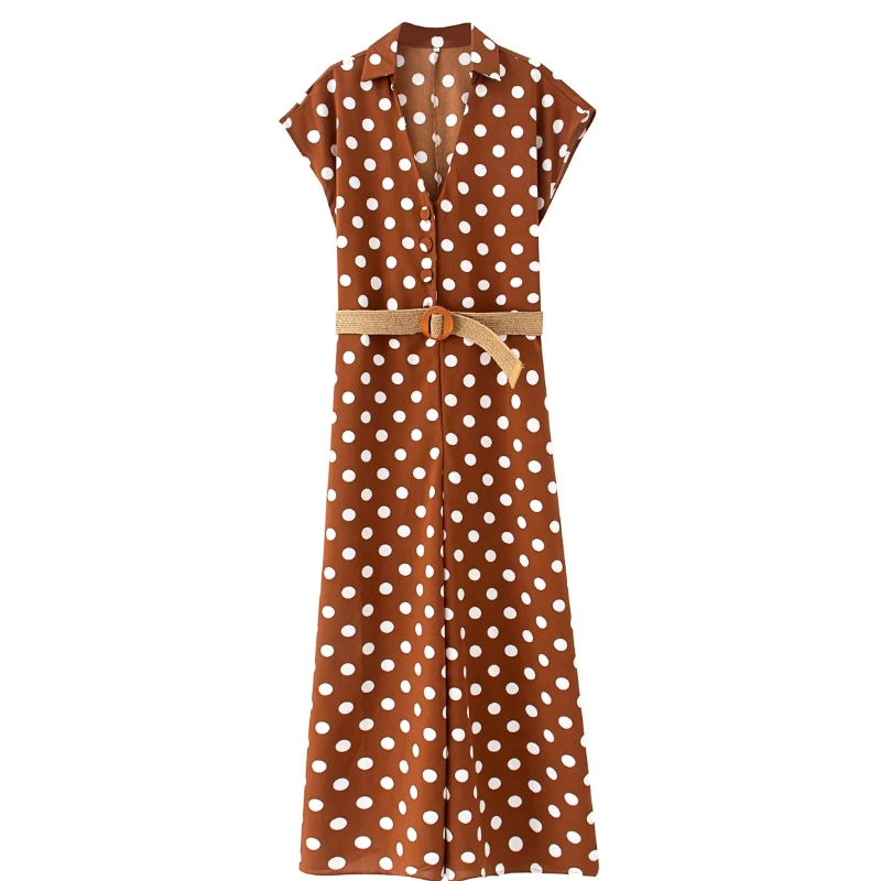 2020 Women Vintage Polka Dot Print Wide Leg Siamese Rompers Retro Ladies Short Sleeve Sashes Casual Slim Chic Jumpsuits