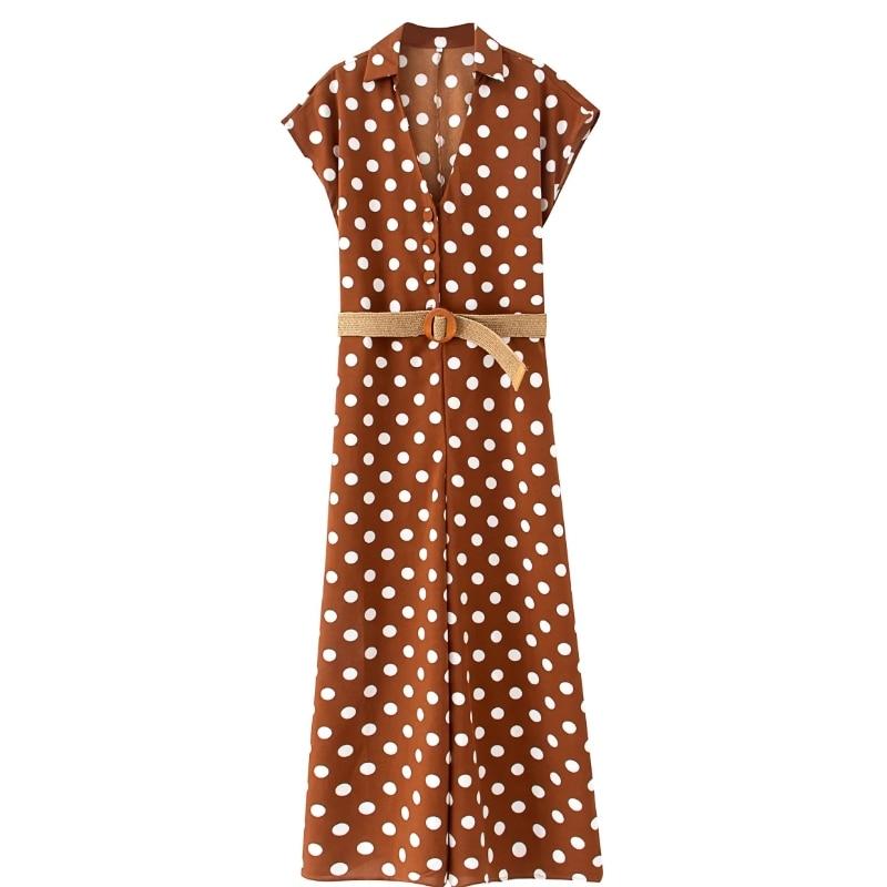 2020 Women Vintage Polka Dot Print Wide Leg Siamese Rompers Retro Ladies Short Sleeve Sashes Casual Slim Chic Jumpsuits