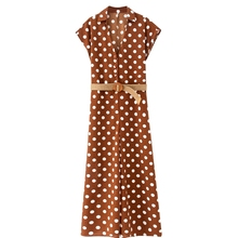 2020 Women Vintage Polka Dot Print Wide Leg Siamese Rompers Retro Ladies Short Sleeve Sashes Casual