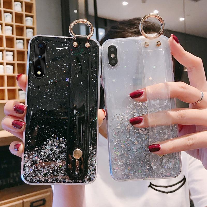 Clear Cover For Vivo X23 X27 X30 Pro Y17 Y12 Y15 Y3 Y19 Shining Starry Wrist Strap Case For Vivo Nex 3 S Iqoo V17 Neo V15 S1 S5