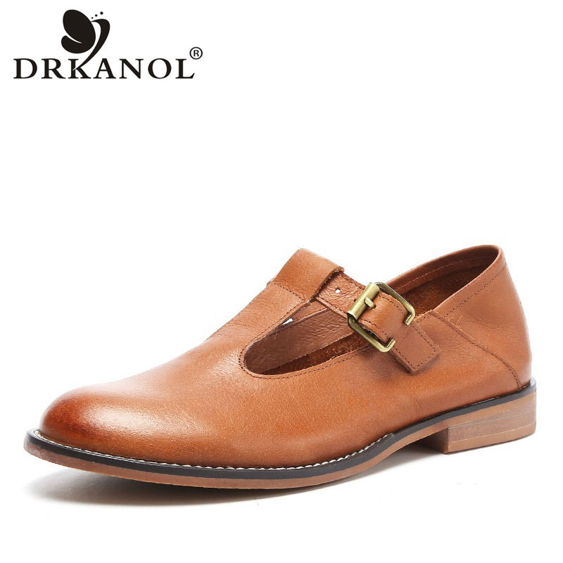 DRKANOL 2020 Genuine Leather Oxford Shoes For Women Vintage Handmade Buckle Strap Round Toe Women Casual Flat Shoes Footwear