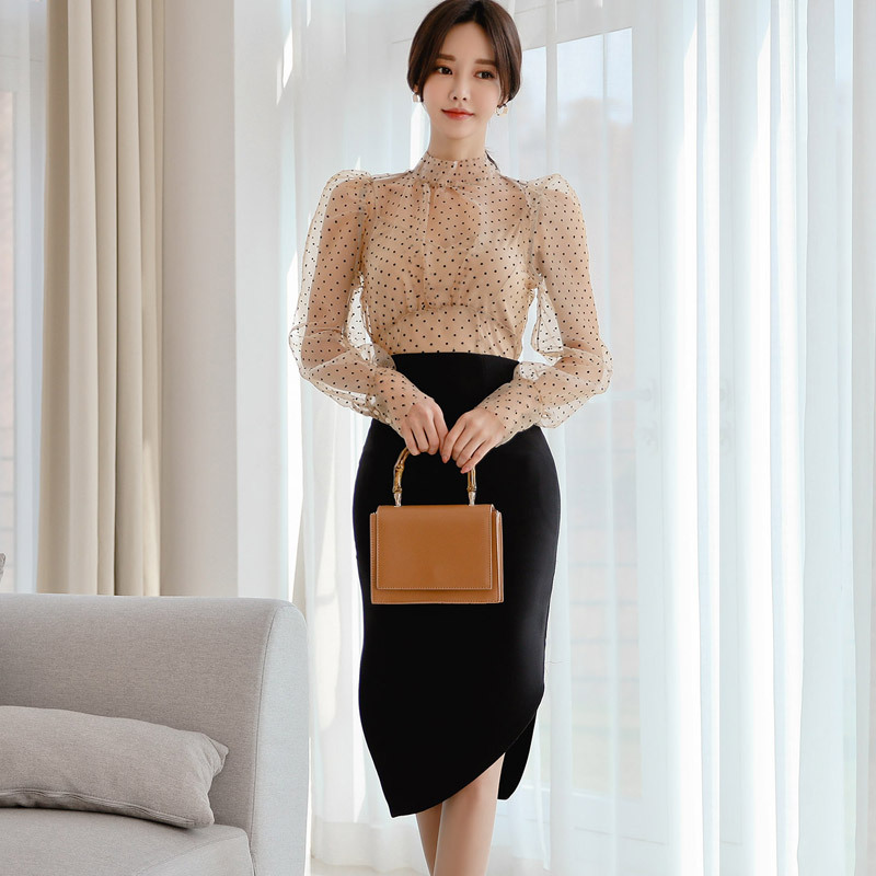 2020 Spring Clothing New Products Debutante Elegant Puff Sleeve Transparent Polka Dot Lace Shirt High-waisted Asymmetric Skirt T
