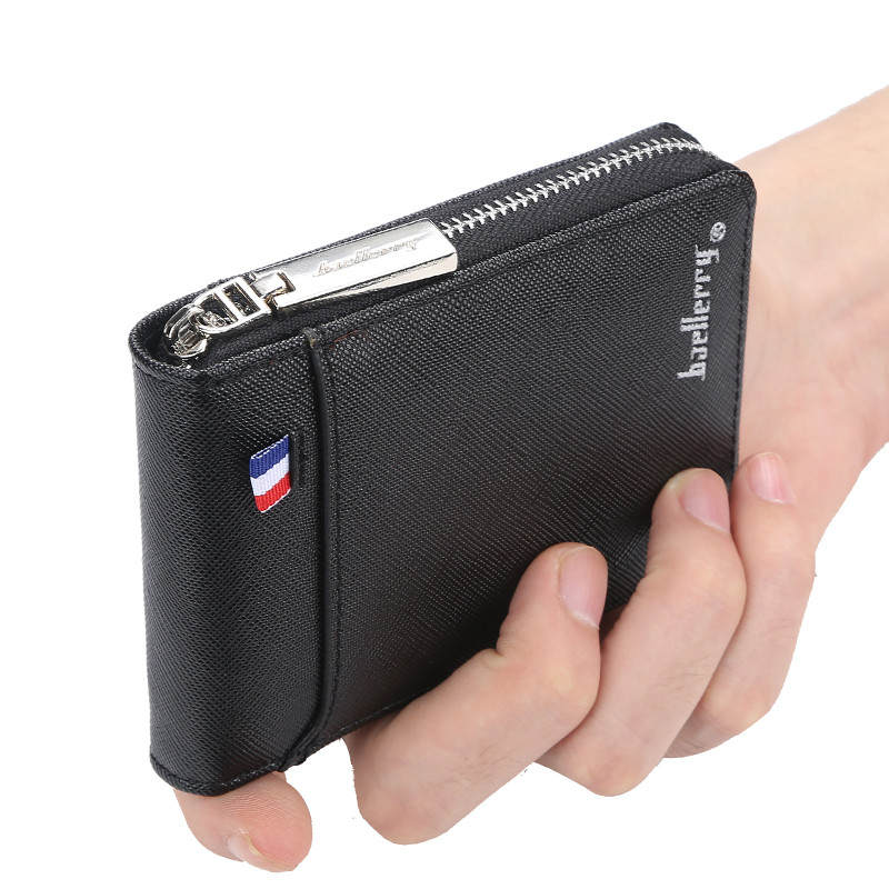 Men's Wallet Purse Card-Holder Short Coin-Pocket Portfel Credit Zipper Small Vintage