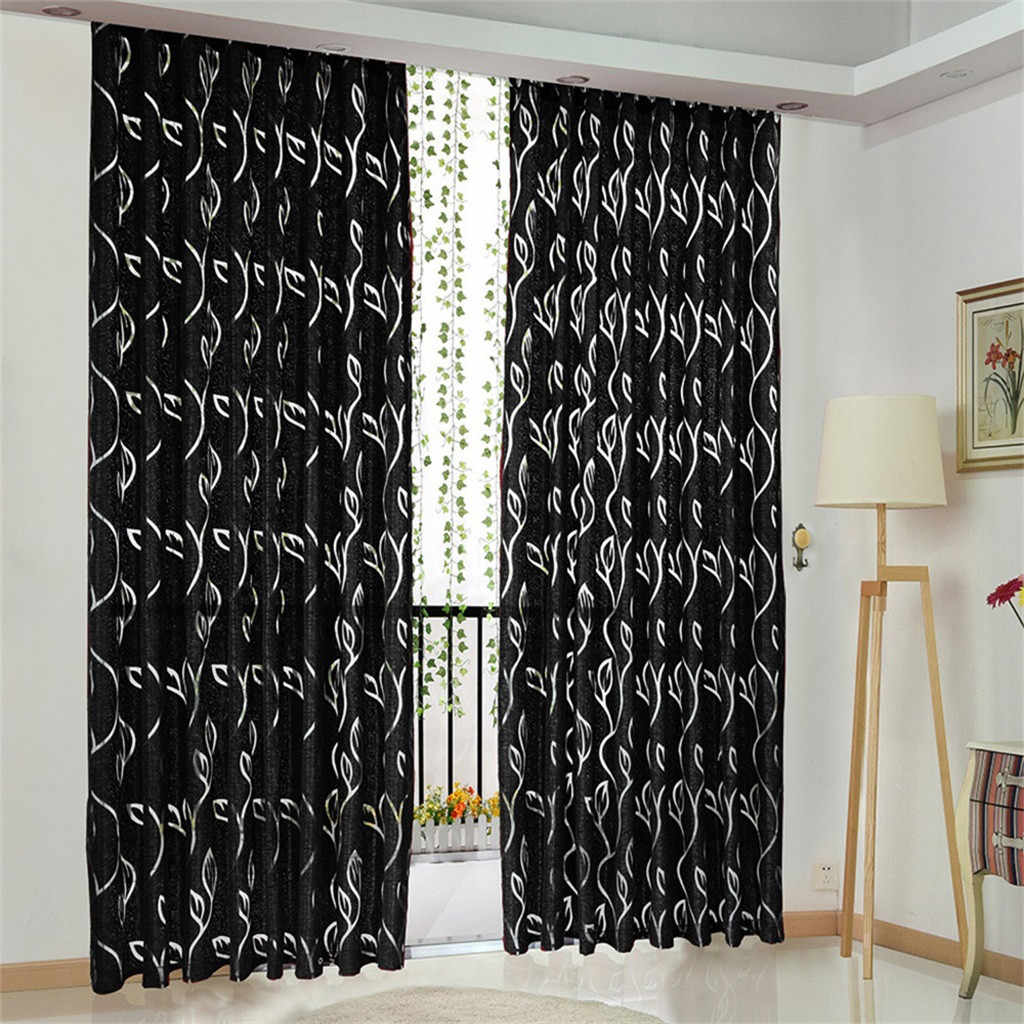 1 pc vines leaves tulle door window curtain drape panel