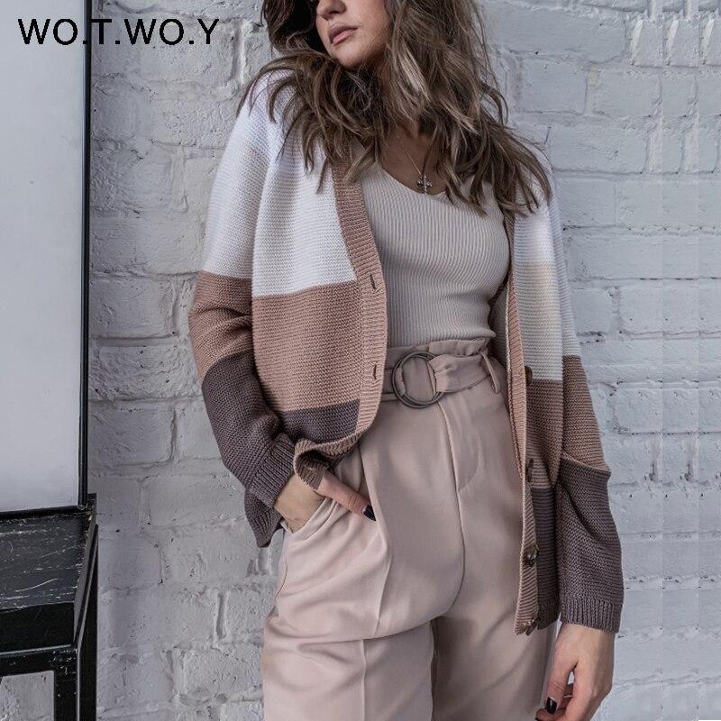 WOTWOY Autumn Winter Knitted Women Sweater Coat PatchWork Button V-nceck Raglan Sleeve Outwear Female Casual Women Open Stitch