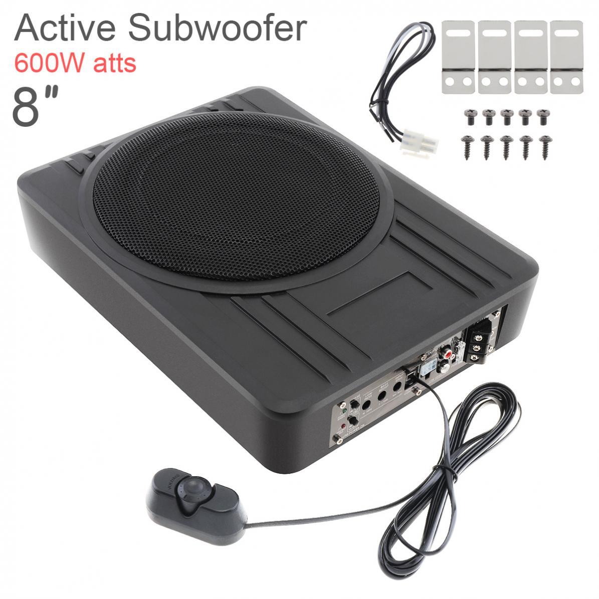 Fuselage noir universel mince 8 pouces 600W Slim sous siège voiture caisson de basses actif amplificateur de basse haut-parleurs