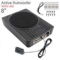 Universal Black Fuselage Slim 8 Inch 600W Slim Under Seat Car Active Subwoofer Bass Amplifier Speakers