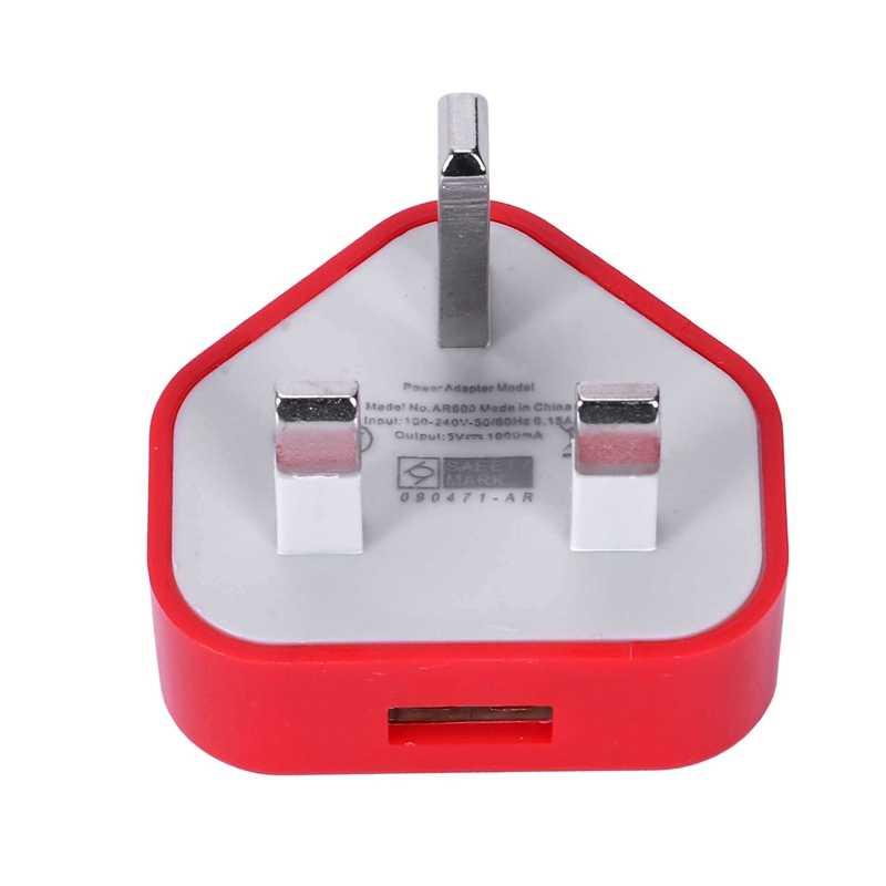 Brytyjska wtyczka zasilacz sieciowy 3 Pin USB adapter zasilania dla komórkowy tablet z funkcją telefonu (czerwony)
