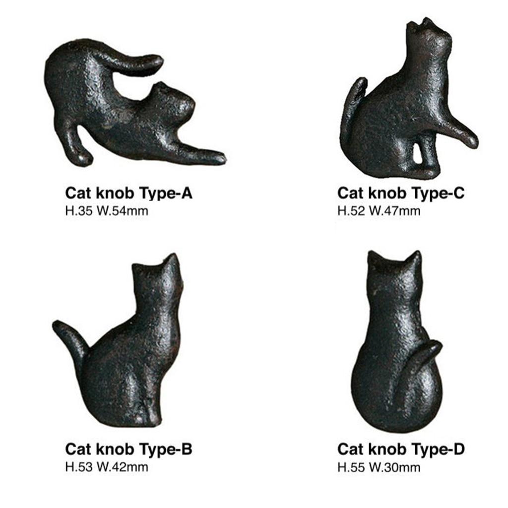 Variety Cast Iron Cute Cat Style Door Drawer Cabinet Wardrobe Pull Handle Knobs Vintage Rural Furniture Hardware