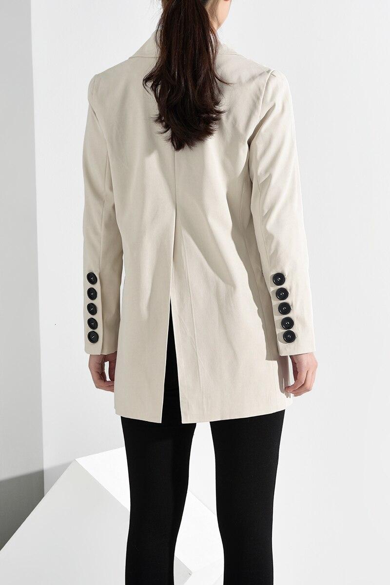 [EAM] Loose Fit Button Split Temperament Jacket New Lapel Long Sleeve Women Coat Fashion Tide Spring Autumn 2020 JQ29000 6