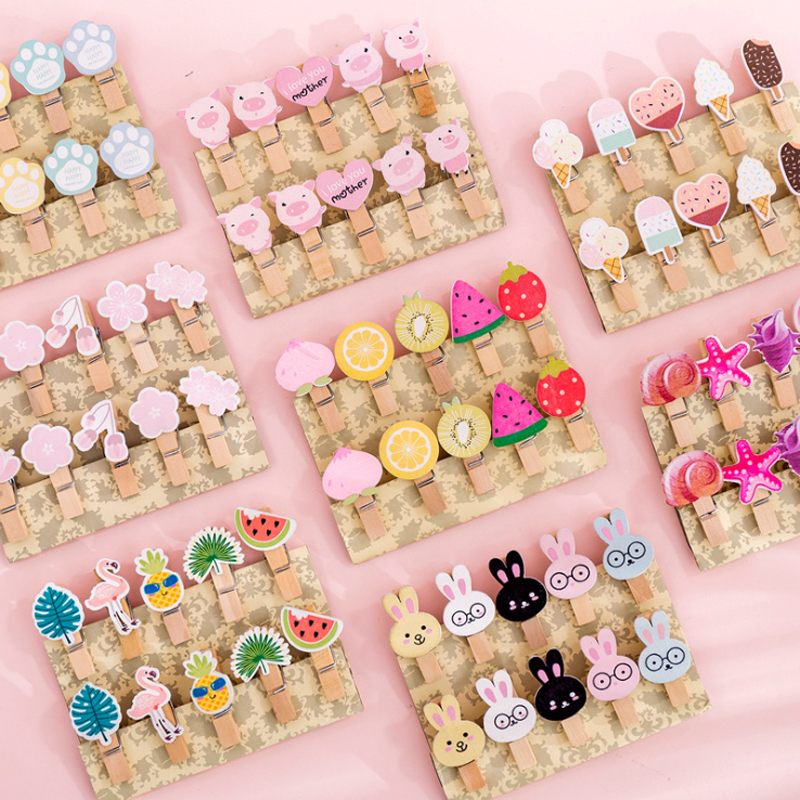 10pcs/lot Kawaii Cartoon Wooden Photo Clip With Rope Paper Postcard Memo Clip Photo Decoration Clip Papeleria Office Accessories