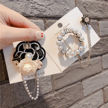 Vintage Pearl Camellia Flower Brooches Pins Badges For Woman Fashion Jewelry Korean Handmade брошь значки-JQE
