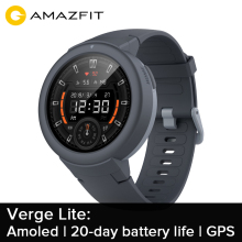 """Amazfit Verge Lite английская версия gps Смарт-часы 1,"""" AMOLED экран Улучшенный HR сенсор 20 дней Срок службы батареи"""