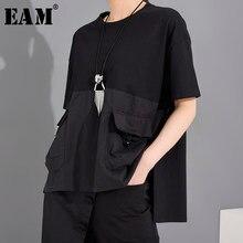 [EAM] T-shirt da donna di grandi dimensioni con spacco irregolare tasca nera nuovo girocollo manica corta moda marea primavera estate 2021 1T70601