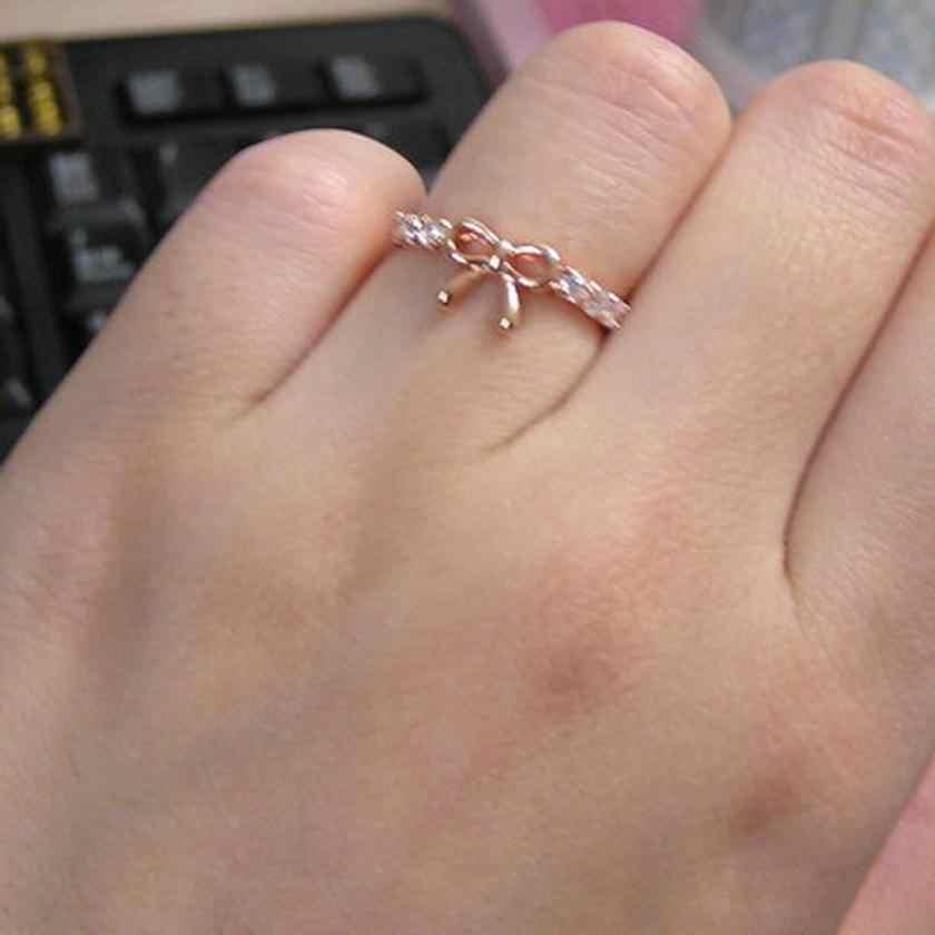 New Arrival bez skazy pierścionki biżuteria zwykłe kryształki łuk pierścień piękny motyl kształt biżuteria akcesoria wykwintne pierścionki