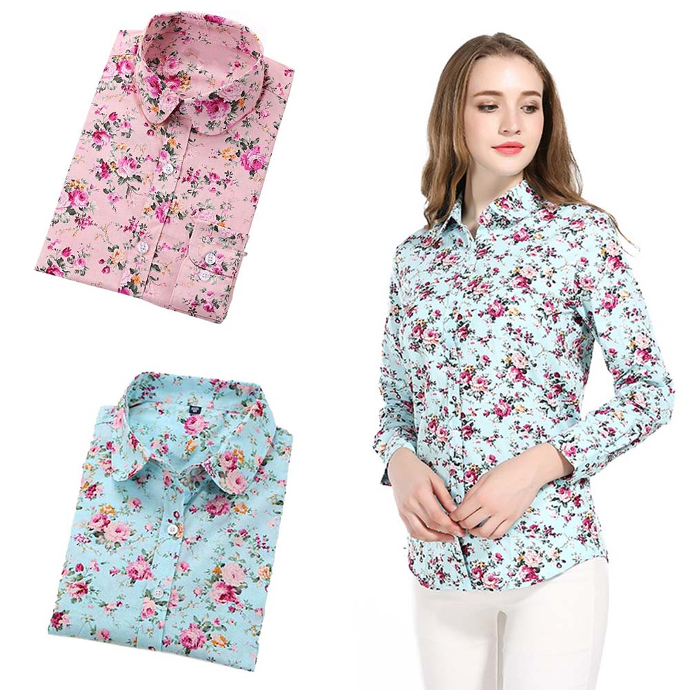 2019 New Fashion Handsome Women'S Cotton Shirt Women'S Ladies Slim Versatile Shirt Printed Cotton Shirt Casual Dobby Floral Full