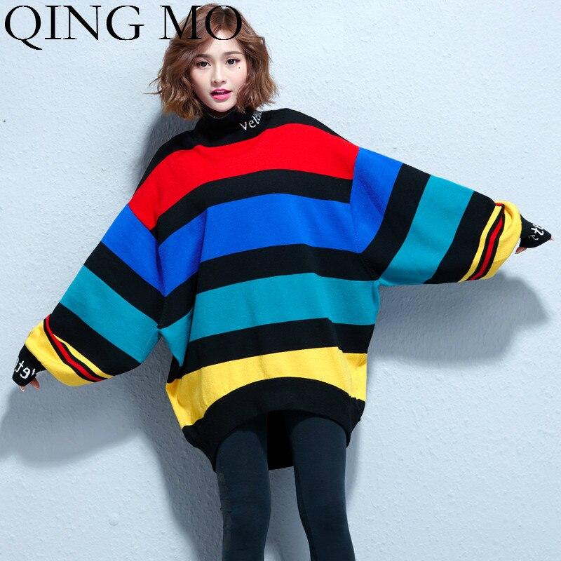 QING MO coloré rayé femmes pull Style décontracté femmes irrégulières pulls pull col montant chauve-souris manches chandail ZQY1585