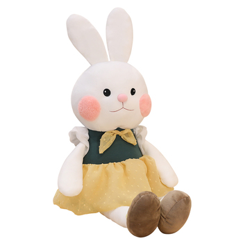 Lovely Cute Cartoon Long Ears Rabbit Dressed Doll Soft Plush Toys For Children Bunny Sleeping Mate Stuffed Plush Baby Toys Gift fancytrader large plush bunny doll lovely soft stuffed cartoon rabbit kids toys gifts pink purple for chilren 100cm