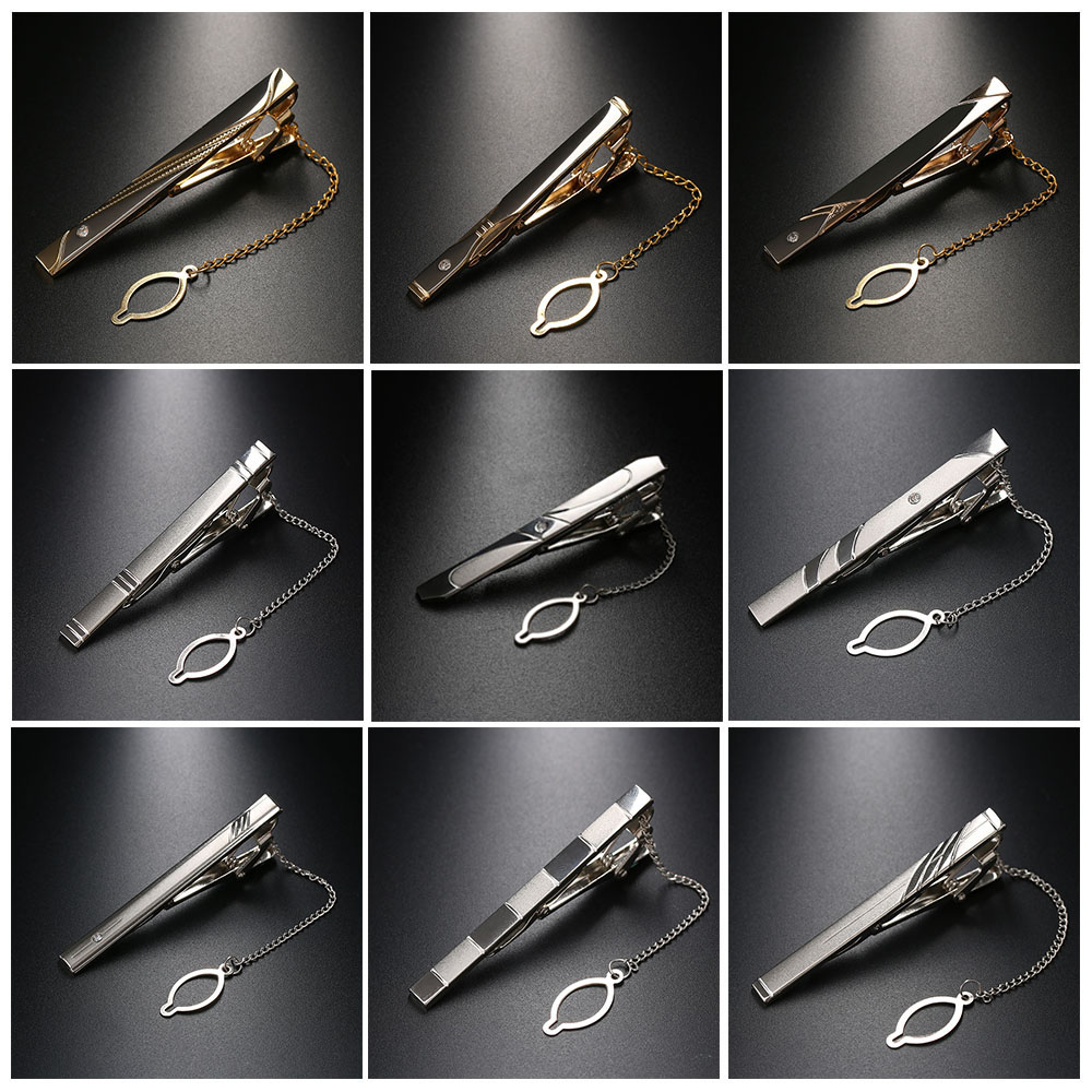 1PC Hot Selling Formal Tie Clips Luxury Style Tie Pin Elegant Gentlemen Fashion Gift Metal Ties Bar Men's Jewelry Accessories