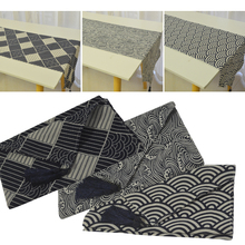 Japan Style Printed Blue Ukiyoe Weave Table Runner Tea Table Shose Cabinet cover Table Flag With