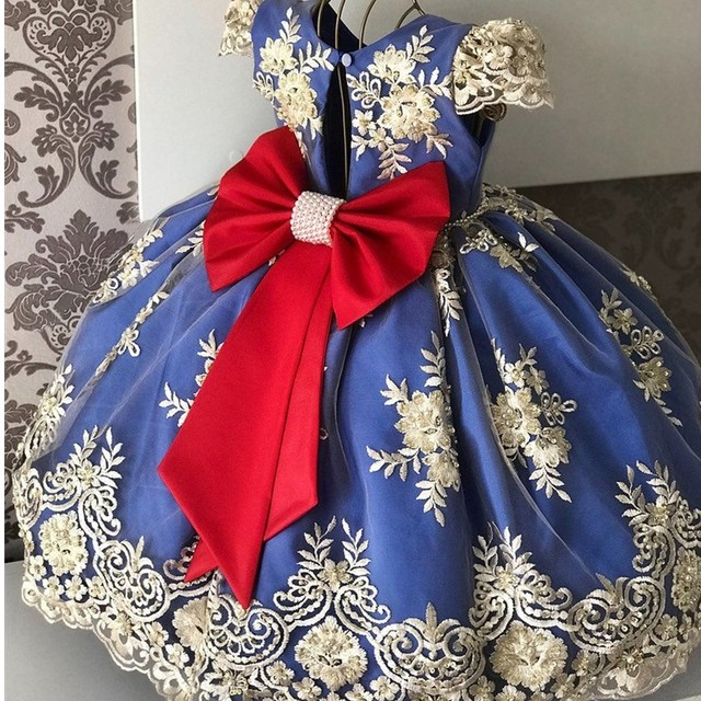 Princess Kids Dresses for Girls Tutu Lace Flower Embroidered Ball Gown Children Wedding Party 4