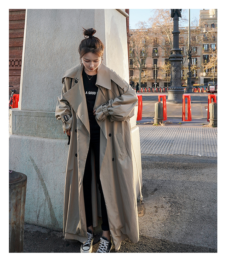 H43241c4714574794bd772d5bcbb828c5Q Korean Style Loose Oversized X-Long Women's Trench Coat Double-Breasted Belted Lady Cloak Windbreaker Spring Fall Outerwear Grey