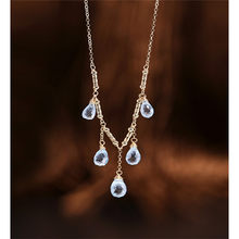 DAIMI Sky Blue Water Drop Topaz Necklace Female Genuine Yellow 14K Gold Injection Pendant Gift(China)
