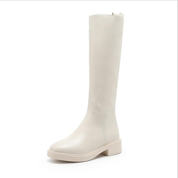 Moda kolana wysokie buty boo grube za kolana buty długie buty jesienne i zimowe nowe buty damskie czarny biały CC25 tanie i dobre opinie NVUVXV Mikrofibra Połowy łydki Pasuje prawda na wymiar weź swój normalny rozmiar Okrągły nosek Zima Stałe Plac heel