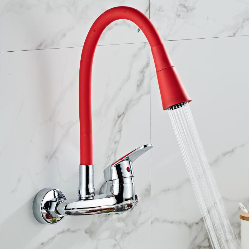 BAKALA Multicolor Wand Montiert Küche Wasserhahn Wand Küche Mischer Kitchen Sink Tap 360 Grad Swivel Flexible Schlauch Doppel Löcher