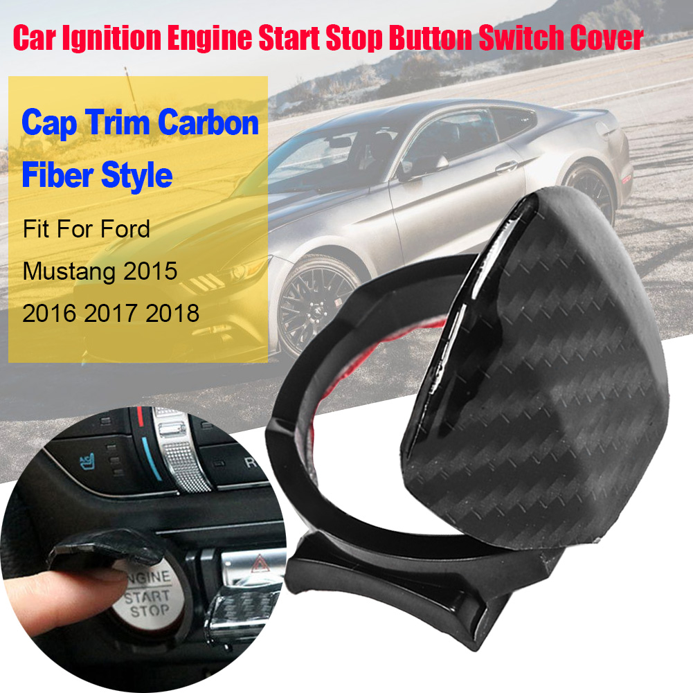Motor de ignição do carro botão de parada partida interruptor capa guarnição estilo fibra carbono apto para ford mustang 2015 2016 2017 2018