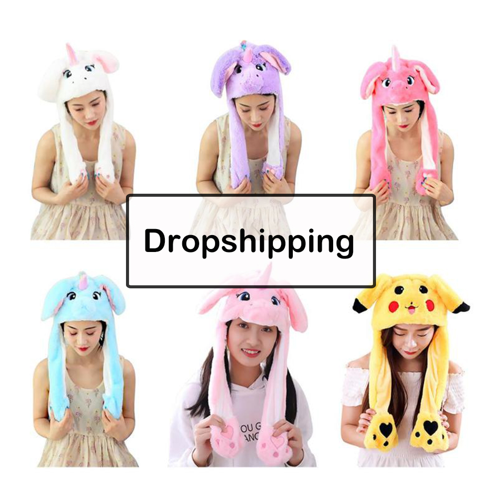 Girl Hat Pikachu Gifts Moving Plush Ear-To-Move Rabbit Kids Women Ears-Hat Vertical-Ears-Cap