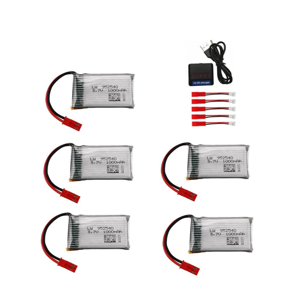 952540 3.7V 1000mAh Lipo Bateria Com Carregador USB Definido Para HQ898B 1S H11D H11C H11WH T64 T04 t05 F28 F29 T56 T57 Zangão RC Peças