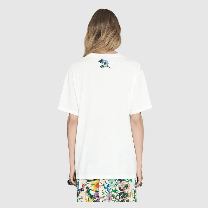 Classic Unisex Designer Striped Cotton Summer T-shirt Short Sleeve Flower Embroidery Letters Chic Casual Loose Female Brand Tops