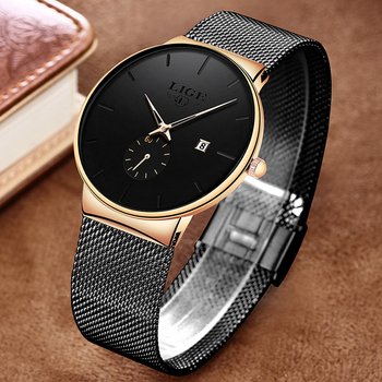 LIGE Fashion Watches Casual Waterproof Quartz Clock Mens Watches Top Brand Luxury Ultra-Thin Date Sports Watch Relogio Masculino dom men watches top brand luxury quartz watch casual quartz watch black leather mesh strap ultra thin fashion clock male relojes