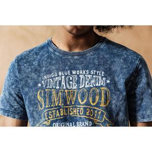 Image 4 - سيموود 2020 قميص نيلي كلاسيكي جديد للصيف والربيع مطبوع عليه حروف برقبة دائرية للرجال 100% قطن هيب هوب علوي 190426