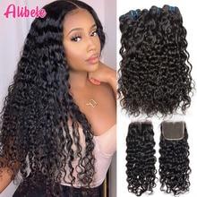 Alibele Hair malezyjski Water Wave zestawy z zamknięciem 100 Remy wiązki ludzkich włosów z zamknięciem Remy włosy 3 zestawy z zamknięciem