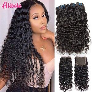 Image 1 - Alibele Hair malezyjski Water Wave zestawy z zamknięciem 100 Remy wiązki ludzkich włosów z zamknięciem Remy włosy 3 zestawy z zamknięciem