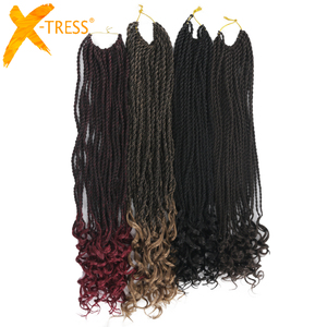 Synthetic Crochet Braids Hair Extensions Senegalese Twist Hair Curly Ends 18
