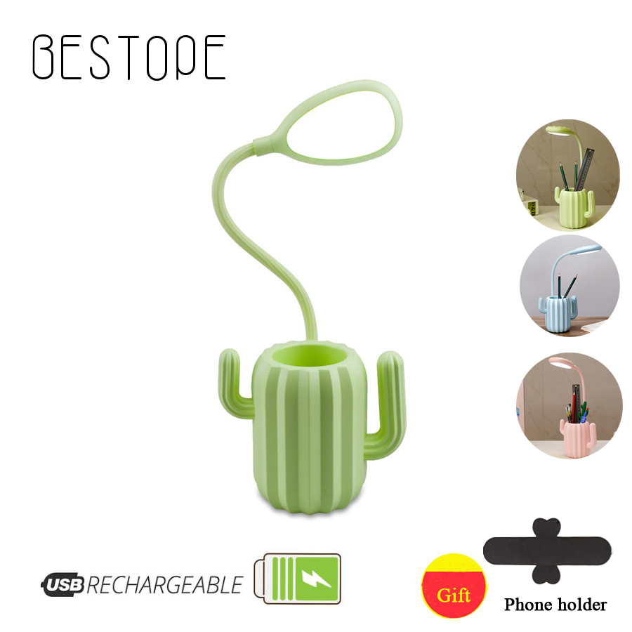 Rechargeable Lamp Cactus Shape With Pen Holder Creative 13 LED USB Touch Flexible Night Reading Light Eye Protective Lamp