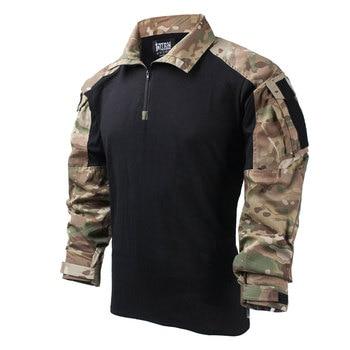 TRN Outdoor Splashproof Combat Long Sleeve Tactical Shirt Women Men Outdoors Tactics Accessories - S M L XL XXL (MC + Black) tmc df combat pants outdoor training pants s m l xl xxl tmc2649 btc