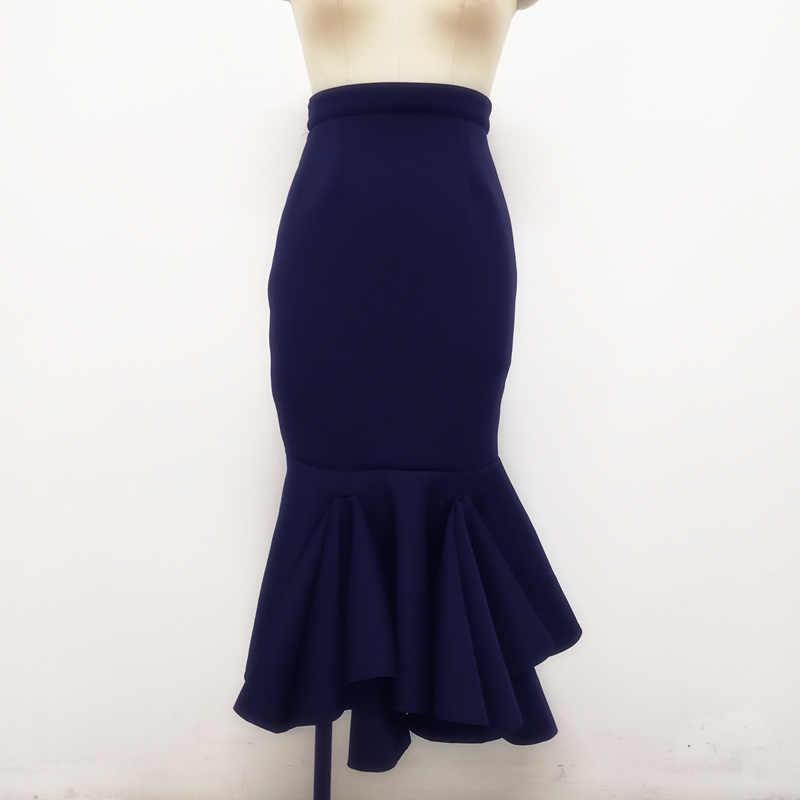 נשים Midi עיפרון חצאית Faldas Mujer Moda 2019 כהה כחול גוף קון ערב הדוקה תאריך מסיבת חצאיות משרד גבירותיי צנוע נהיגה לראשונה חצאית S XXL