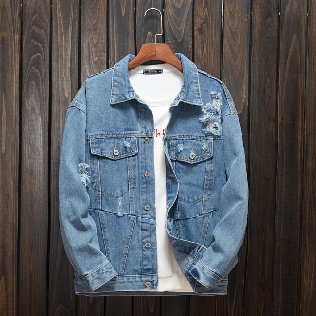 2019 Men's New Fashion Autumn Winter Casual Denim Letter Jacket Long Sleeve Men's Retro Denim Jacket Jacket Streetwear 8.28